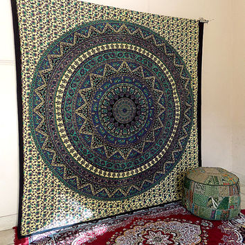 BIG cotton mandala tapestry wall hanging indian hippie bohemian bedding throw bedspread ethnic home decor