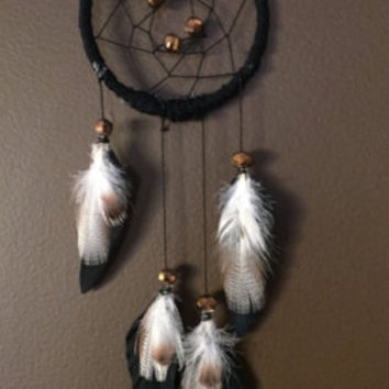 Small Dream Catcher with Moss Agate & Purple Fluorite // Hippie Boho Home Office Apartment Car Mirror Decor