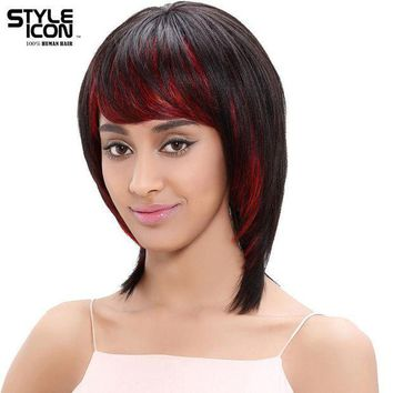 ICIKWJ7 Styleicon Brazilian Hair Wig 12 Inch Short Human Hair Wigs For Women Color HL1B/RED Machine Made Free Shipping