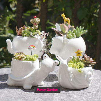 Kawaii Little Animal Ceramic Flowerpot, Cute White Porcelain Succulent Plants Flower Pot Home Decor Garden Vase Desktop Mini Ornaments DIY