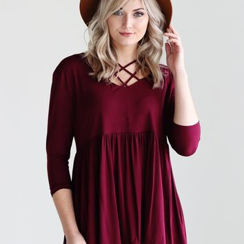 Burgundy PIKO Criss Cross Ruffle Hem Top