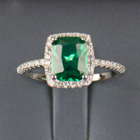 Emerald Engagement / Wedding Ring