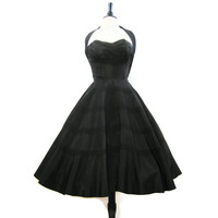 50s Dress Vintage Shelf Bust Halter Circle Skirt Black Cocktail Party S