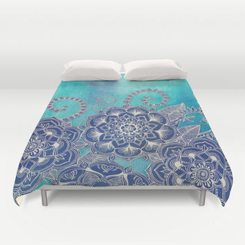 Mermaid's Garden - Navy & Teal Floral on Watercolor Duvet Cover by Micklyn