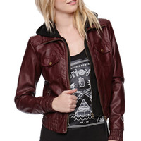 Nollie Faux Leather Fleece Hood Jacket at PacSun.com