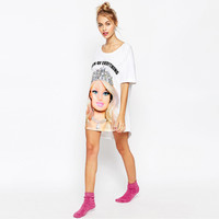 White Barbie Print Short-Sleeve Loose Dress Shirt
