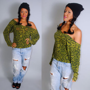 Vintage 1980s Rare BETSEY JOHNSON Punk Label Green Snake print off the shoulder long sleeve top