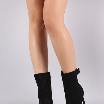 Perforated Suede Peep Toe Stiletto Boots