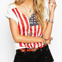 White USA Flag Print V-Neck T-Shirt