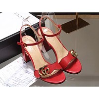 GUCCI Tide brand female models with thick sandals open toe back straps double buckle high heels red