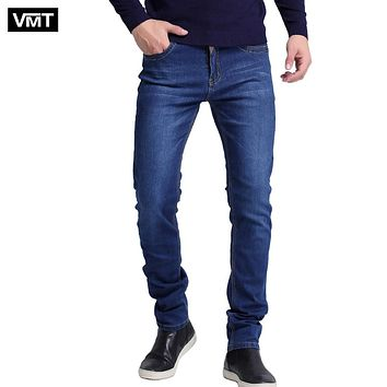 Men jeans New Fashion Men Casual Jeans Slim Straight High Elasticity Feet Jeans Loose Waist Long Trousers