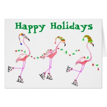 "Quirky Beach Flamingos ""Happy Holidays"" Card"