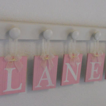 Nursery Decorations Wooden Letters. Set Includes 5 Linen White Pegs and Custom Baby Name LANEY Painted Light Pink Personalized Baby Gift