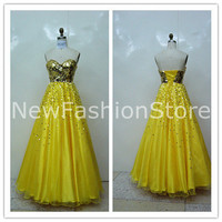 Strapless Sleeveless Sequins Floor Length Chiffon Prom Party Dress