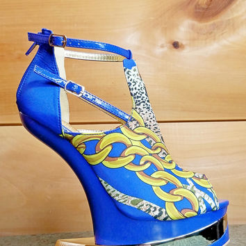 Aymor Blue Satin Multi Color Heel Less Open Toe Wedge Shoe