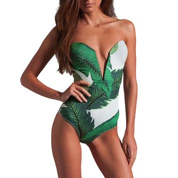 Womens Swimwear Green Leaves High Cut One Piece Swimsuit Sexy Deep V-neck Beachwear