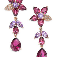 Bordeaux by EFFY Multi-Stone (10-9/10 ct. t.w.) and Diamond Accent Flower Drop Earrings in 14k Rose Gold