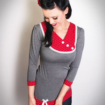 SOPHIE-01 grey/RED Polkadot 3/4 Sleeves TENCEL Shirt