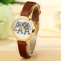 Vintage Elephant Cowhide Leather Strap Quartz Watch