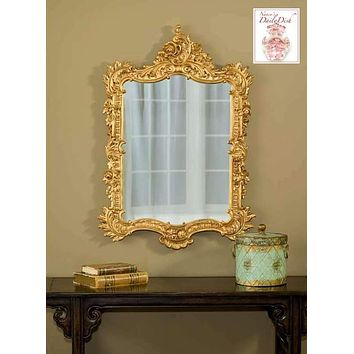 Baroque Rococo Ornately Detailed Entry Wall Mirror Gold