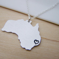 Australia Hand Stamped Necklace Simple Jewelry Everyday Necklace / Gift for Her