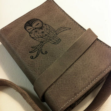 small leather journal/sketchbook hand-printed custom for you sleepy owl