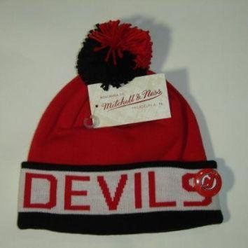 CREYON Mitchell and Ness NHL New Jersey Devils 2 Tone Cuffed Knit Pom Beanie Cap with Pin