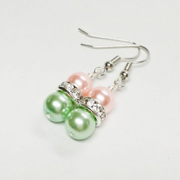 Pink and Green Glass Pearl Earrings | Pink and Green Gift | Sister Gift | Rose and Mint Earrings | Pink and Green Jewelry