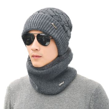 cdbed687f4e53 Warm winter Hat Men Women Knitted Hat Scarf Skullies Beanies Win