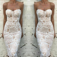 Antoinetta White Lace Midi Dress