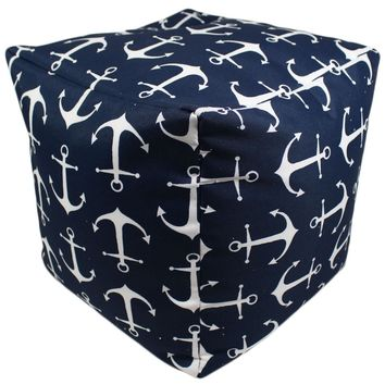 Deep Navy Blue Anchors Indoor/Outdoor Square Pouf Ottoman Cube