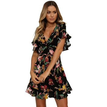 Short Sleeve Floral Ruffle Midi Dress Summer Party Mini Beach Dresses Women Bohemian V Neck Flare Sleeve Formal Sundress 2018#20