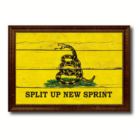 Split Up New Sprint Military Flag Vintage Canvas Print with Brown Picture Frame Gifts Ideas Home Decor Wall Art Decoration