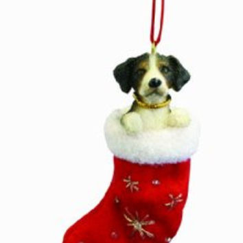 "Bernese Mt. Dog Christmas Stocking Ornament with ""Santa's Little Pals"" Hand Painted and Stitched Detail"