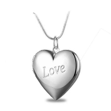 LOVE Silver Heart Locket Necklace
