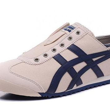 asics japan onitsuka tiger beige dark blue unisex running shoes sneakers trainers  number 1