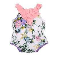 2017 Newborn Baby Girls Flower Tassels Bodysutis Babies Floral Bodysuit Playsuit Outfits Sunsuit Clothes 0-24M Clothing