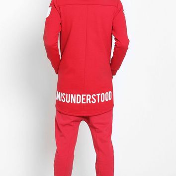 Entree LS Affinity Elongated Red Curved Hem Zip Up Hoodie