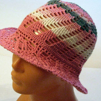 Crocheted vintage style summer sun hat, handmade children (5-7 yrs old) summer hat, handmade