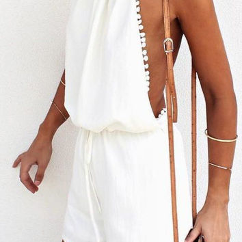 Casual Sexy Hot Beach Halter Open Back Solid Color Romper