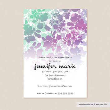 Audrey Rainbow  Printable Invitation 5 x 7 Card by gabipress