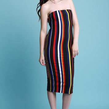 Multi Color Vertical Striped Tube Midi Dress
