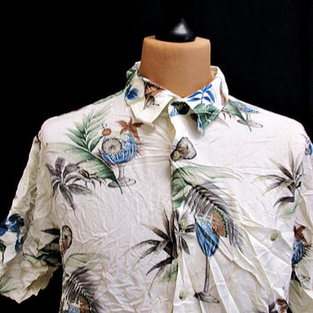 Vintage Croft And Barrow Blue Cocktails Hawaiian Shirt XL