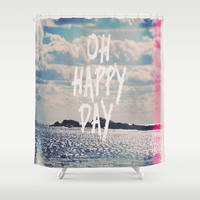 Oh Happy Day Shower Curtain by Rachel Burbee