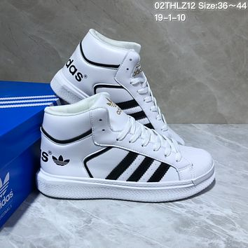 KUYOU A428 Adidas Hoops 2.0 Leather High Fashion Casual Skate Shoes White Black Gold