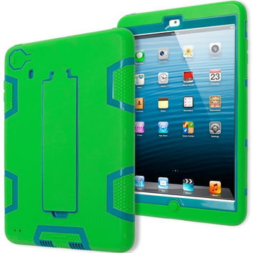 iPad Mini 1, 2, 3 Retina Hybrid Neon Green & Teal Tron Stand Case Cover