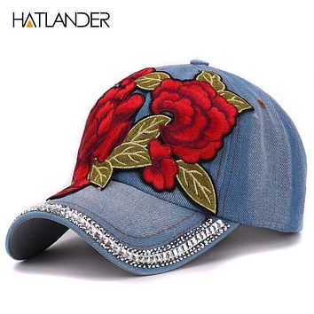 Hatlander 2017 Embroidery Rose baseball caps for girls outdoor sports hats luxury vintage Denim summer casual floral women cap