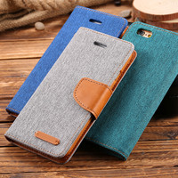 Book Flip Cloth Skin PU Leather Case For iPhone 6 4.7/ Plus 5.5 Fashion Hit Color Full Protective Accessories Cover i6 4.7/Plus