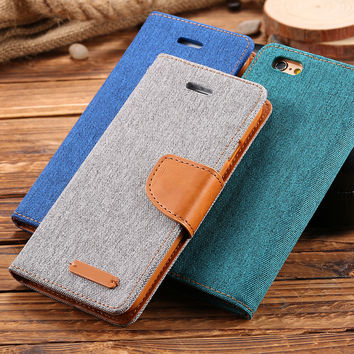 Book Flip Cloth Skin Leather Case For iPhone 6 6S Plus 4.7 5.5 Fashion Hit Color Full Protective Accessories Cover iPhone6 Plus