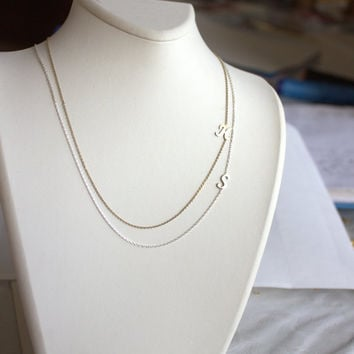 Sideways Initial Necklace-Gold  -Silver -Rose Letter Necklace-Gold  -Engraved letter -Capital Letter,Atlas Project